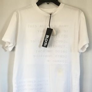 White Letter Embossed Print Tee Shirt Size M